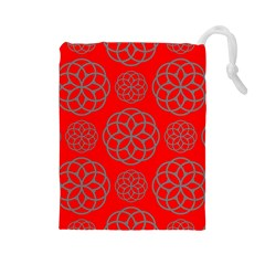 Geometric Circles Seamless Pattern On Red Background Drawstring Pouches (large)  by Simbadda