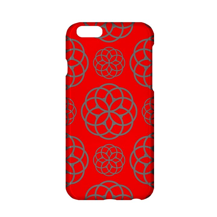 Geometric Circles Seamless Pattern On Red Background Apple iPhone 6/6S Hardshell Case