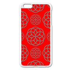 Geometric Circles Seamless Pattern On Red Background Apple Iphone 6 Plus/6s Plus Enamel White Case by Simbadda