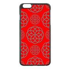 Geometric Circles Seamless Pattern On Red Background Apple Iphone 6 Plus/6s Plus Black Enamel Case by Simbadda