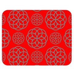 Geometric Circles Seamless Pattern On Red Background Double Sided Flano Blanket (medium)  by Simbadda