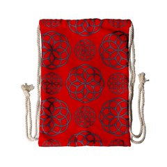 Geometric Circles Seamless Pattern On Red Background Drawstring Bag (small) by Simbadda