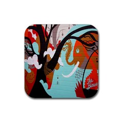 Colorful Graffiti In Amsterdam Rubber Square Coaster (4 Pack)  by Simbadda