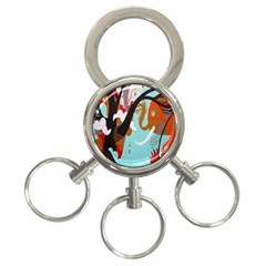 Colorful Graffiti In Amsterdam 3 Ring Key Chains by Simbadda