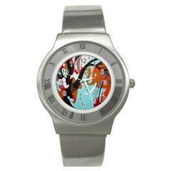 Colorful Graffiti In Amsterdam Stainless Steel Watch by Simbadda