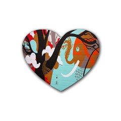 Colorful Graffiti In Amsterdam Rubber Coaster (heart)  by Simbadda