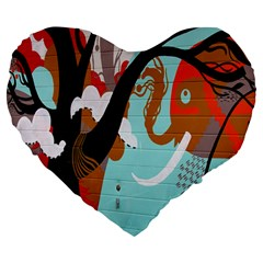 Colorful Graffiti In Amsterdam Large 19  Premium Flano Heart Shape Cushions by Simbadda