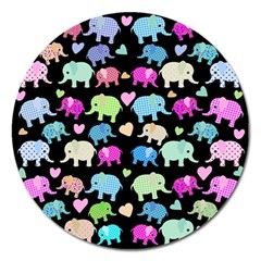 Cute Elephants  Magnet 5  (round) by Valentinaart