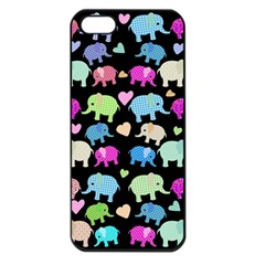 Cute Elephants  Apple Iphone 5 Seamless Case (black) by Valentinaart