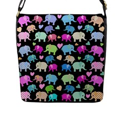 Cute Elephants  Flap Messenger Bag (l)  by Valentinaart