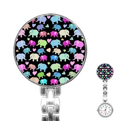 Cute Elephants  Stainless Steel Nurses Watch by Valentinaart
