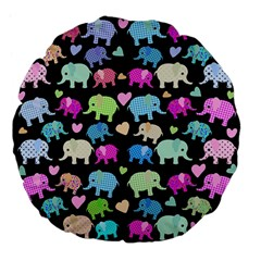Cute Elephants  Large 18  Premium Flano Round Cushions by Valentinaart