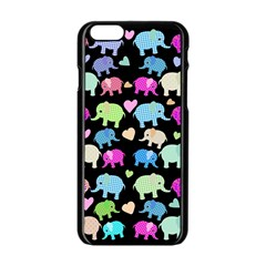 Cute Elephants  Apple Iphone 6/6s Black Enamel Case by Valentinaart