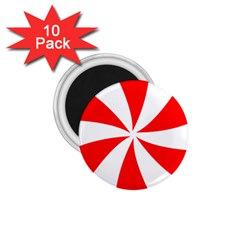Candy Red White Peppermint Pinwheel Red White 1 75  Magnets (10 Pack)  by Alisyart