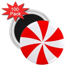 Candy Red White Peppermint Pinwheel Red White 2 25  Magnets (100 Pack)  by Alisyart