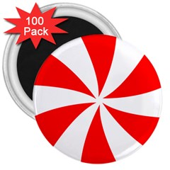 Candy Red White Peppermint Pinwheel Red White 3  Magnets (100 Pack) by Alisyart