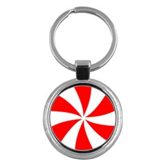 Candy Red White Peppermint Pinwheel Red White Key Chains (round)  by Alisyart