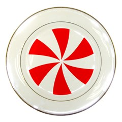 Candy Red White Peppermint Pinwheel Red White Porcelain Plates by Alisyart