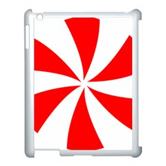 Candy Red White Peppermint Pinwheel Red White Apple Ipad 3/4 Case (white) by Alisyart