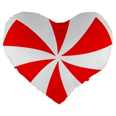 Candy Red White Peppermint Pinwheel Red White Large 19  Premium Heart Shape Cushions by Alisyart