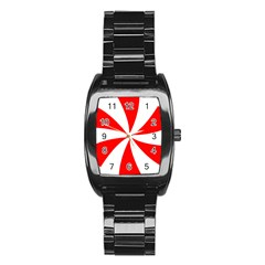 Candy Red White Peppermint Pinwheel Red White Stainless Steel Barrel Watch by Alisyart