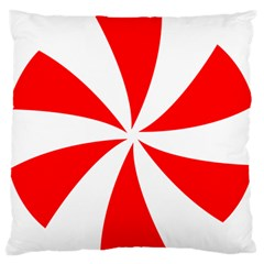 Candy Red White Peppermint Pinwheel Red White Large Flano Cushion Case (one Side) by Alisyart