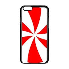 Candy Red White Peppermint Pinwheel Red White Apple Iphone 6/6s Black Enamel Case by Alisyart