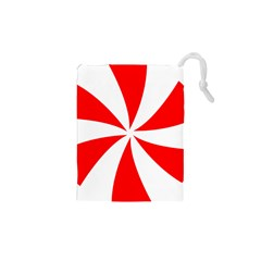 Candy Red White Peppermint Pinwheel Red White Drawstring Pouches (xs)  by Alisyart