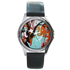 Colorful Graffiti In Amsterdam Round Metal Watch by Simbadda