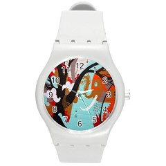 Colorful Graffiti In Amsterdam Round Plastic Sport Watch (m) by Simbadda
