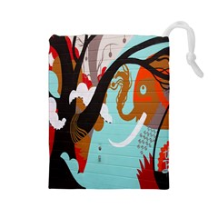 Colorful Graffiti In Amsterdam Drawstring Pouches (large)  by Simbadda