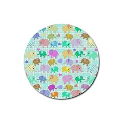 Cute Elephants  Rubber Coaster (round)  by Valentinaart