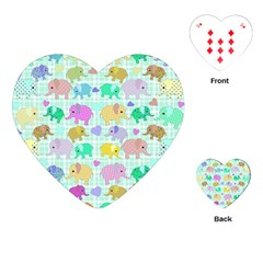 Cute Elephants  Playing Cards (heart)  by Valentinaart