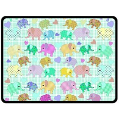 Cute Elephants  Fleece Blanket (large)  by Valentinaart