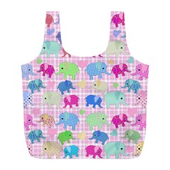 Cute Elephants  Full Print Recycle Bags (l)  by Valentinaart