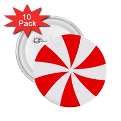 Candy Red White Peppermint Pinwheel Red White 2 25  Buttons (10 Pack)  by Alisyart