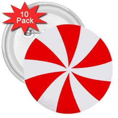 Candy Red White Peppermint Pinwheel Red White 3  Buttons (10 Pack)  by Alisyart