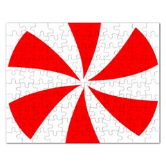 Candy Red White Peppermint Pinwheel Red White Rectangular Jigsaw Puzzl by Alisyart