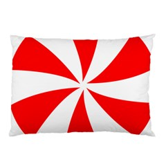 Candy Red White Peppermint Pinwheel Red White Pillow Case by Alisyart