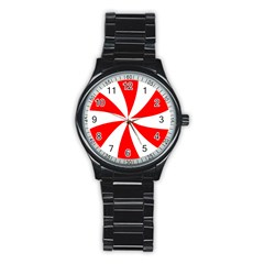 Candy Red White Peppermint Pinwheel Red White Stainless Steel Round Watch by Alisyart