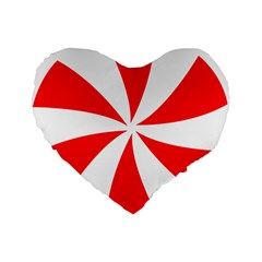 Candy Red White Peppermint Pinwheel Red White Standard 16  Premium Flano Heart Shape Cushions by Alisyart
