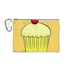 Cake Bread Pie Cerry Canvas Cosmetic Bag (m) by Alisyart