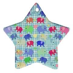 Cute Elephants  Ornament (star) by Valentinaart