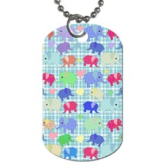 Cute Elephants  Dog Tag (one Side) by Valentinaart