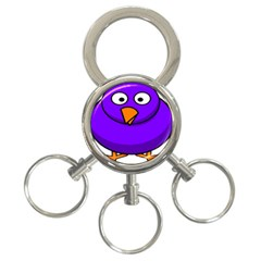 Cartoon Bird Purple 3 Ring Key Chains by Alisyart