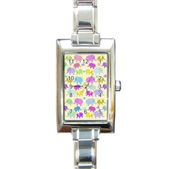 Cute Elephants  Rectangle Italian Charm Watch by Valentinaart