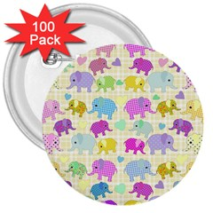 Cute Elephants  3  Buttons (100 Pack)  by Valentinaart