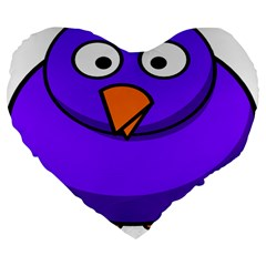 Cartoon Bird Purple Large 19  Premium Flano Heart Shape Cushions by Alisyart