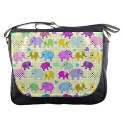 Cute Elephants  Messenger Bags by Valentinaart