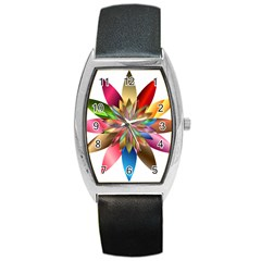 Chromatic Flower Gold Rainbow Barrel Style Metal Watch by Alisyart